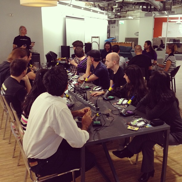 BitTorrent staff getting a soldering lesson from @maltman23 #gklst