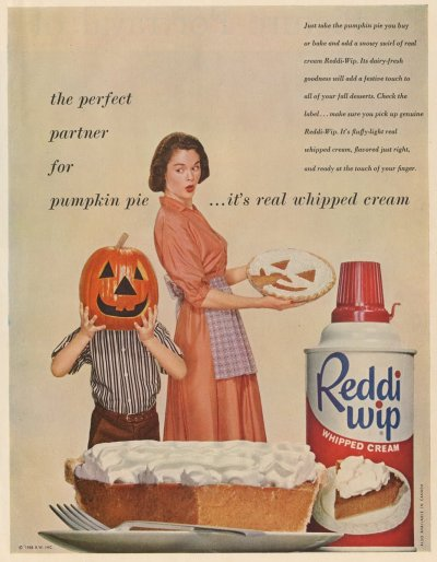 Vintage Halloween themed Reddi Wip advertisement c.1958