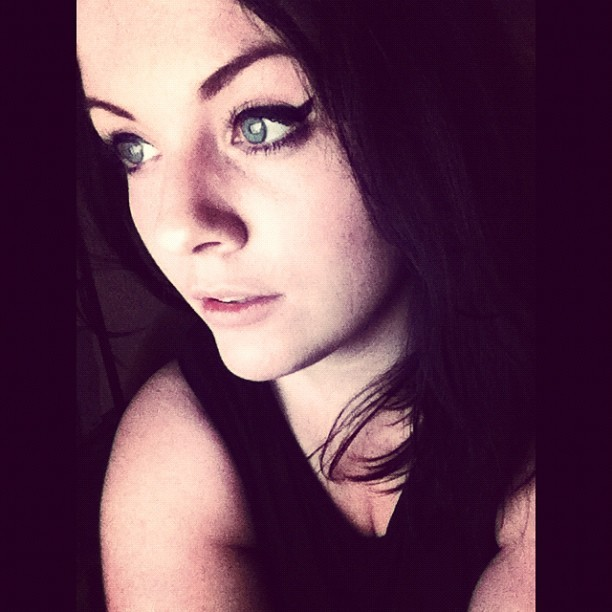 #swedish #girl #woman #sweden #sverige #blue #eyes #lips #dark #hair