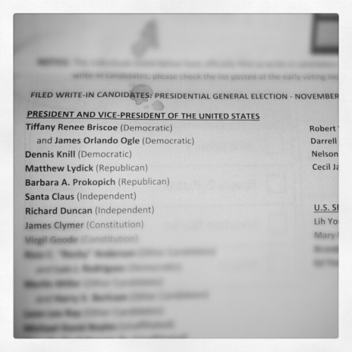 "Got my official sample ballot in the mail today. Here is a list of the ""official"" write in candidates. Check out the fifth one down."