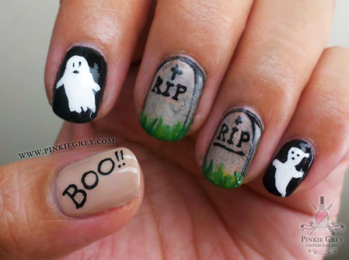 beautylish:  Boo! Pinkie G. paints some ghost and tombstone nails for Halloween!