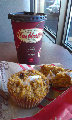 fuckyeahnovascotia:  Timmies   (Timmies double double and a pumpkin spice muffin) by Liz Hargreaves