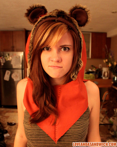 Made an Ewok hood for my best friend to wear to a party tomorrow!  Man I love Ewoks.