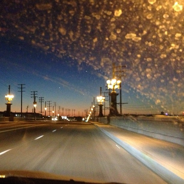 Dirty windshield. Cool dusk. #LA #nofilter