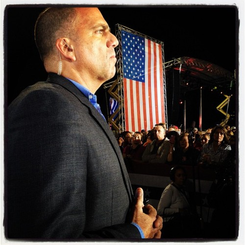 9:37PM Defiance, OH. Secret Service agent watches the crowd while Mitt speaks #campaign2012 #gettyimages #mittromney