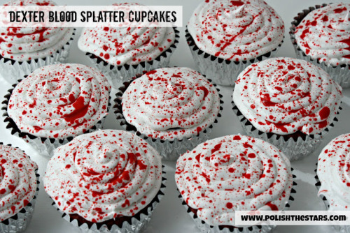 halloweencrafts:  DIY Red Velvet Blood Splattered Cupcakes Tutorial from Polish the Stars here.