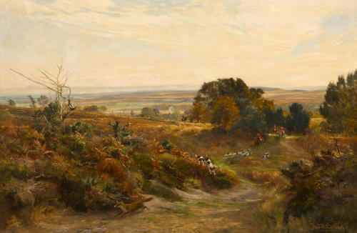 Frederick William Newton Whitehead (British, 1853-1938) The South Dorset Hunt on Eggleton Hill