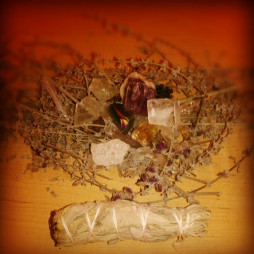 amethystandincense:  the humble beginnings of a poor witches altar. the lavender was hand picked from my aunt's garden.