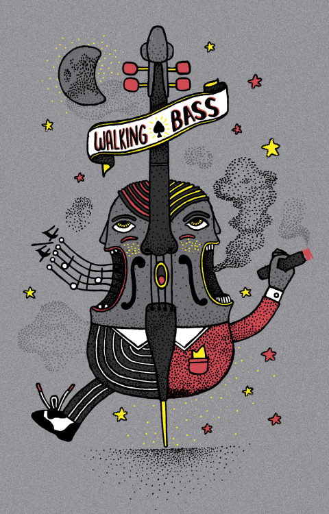 """Walking Bass"" Illustración para Threadless. Octubre 2012"
