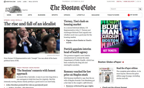 Beautiful newspaper website: The Boston Globe
