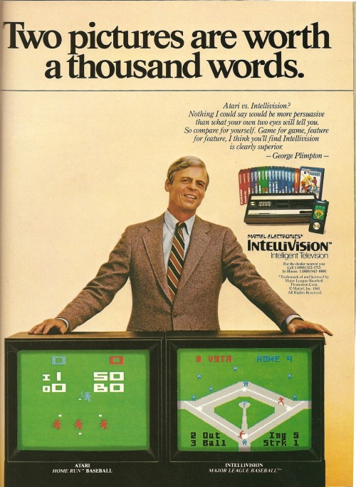 Intellivision. Ad from Playboy, December 1981. George Plimpton knew all about graphics and shit.