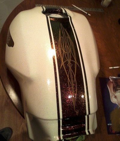 Monster Project preview time… Pinstriping on the tank stripe by Jeff Wolf!
