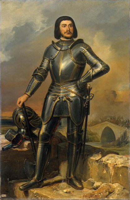 Gilles de Laval, sire de Rais, compagnon de Jeanne d'Arc, Maréchal de France (1404-1440). Huile sur toile (1835) exposée dans la galerie des maréchaux de France, château de Versailles. (vue d'artiste) @credits  Gilles de Montmorency-Laval (1404–1440), Baron de Rais, was a Breton knight, a leader in the French army and a companion-in-arms of Joan of Arc. He is best known by his reputation and conviction as a prolific serial killer of children. A member of the House of Montmorency-Laval, Gilles de Rais grew up under the tutelage of his maternal grandfather and increased his fortune by marriage. Following the War of the Breton Succession, he earned the favour of the Duke and was admitted to the French court. From 1427 to 1435, Gilles served as a commander in the Royal Army, and fought alongside Joan of Arc against the English and their Burgundian allies during the Hundred Years' War, for which he was appointed Marshal of France. In 1434/1435, he retired from military life, depleted his wealth by staging an extravagant theatrical spectacle of his own composition and dabbled in the occult. After 1432 Gilles engaged in a series of child murders, his victims possibly numbering in the hundreds. The killings came to an end in 1440 when a violent dispute with a clergyman led to an ecclesiastical investigation which brought Gilles' crimes to light. At his trial the parents of missing children in the surrounding area and Gilles' own confederates in crime testified against him. Gilles was condemned to death and hanged at Nantes on 26 October 1440.