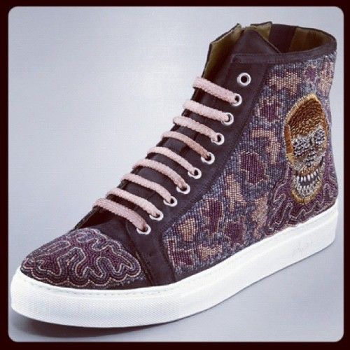 Skate shoe lust. It would be beadless in less than 2 months.             Donald J. Pliner $850 #luxury #sneaker #fall2012 #skatergirl #love #lust #plaztikmag