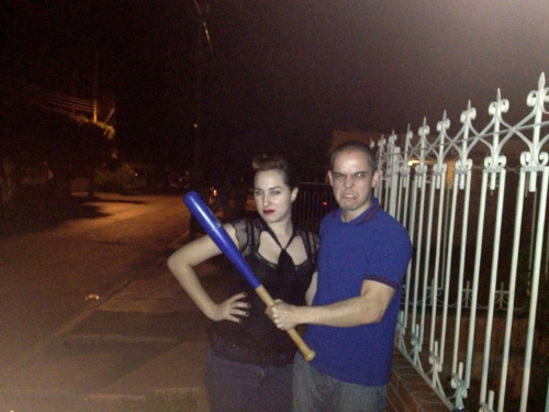 my boyfriend and me, drunk, trying to look intimidating