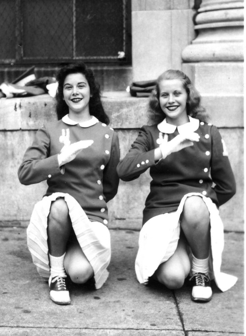 "mudwerks:  saddle-shoes-329 (by Saddle Shoe Habitat)  ""Two cheerleaders of Emerson High School, Union City, NJ the one on the right being Pat Willis, taken by Chester on Saturday afternoon Oct 26th, 1946 in front of Emerson High School on 18th St. between New York and Palisades Aves., Union City, NJ"""