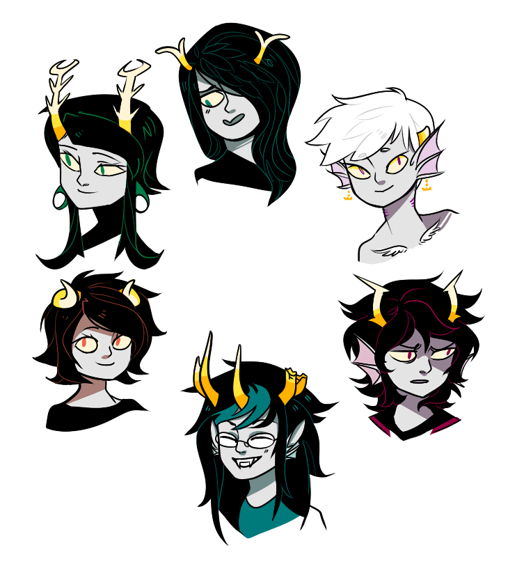 ptthbbthth I drew a buncha fantrolls I knew at random because I haven't drawn for fucking ever thx to my monitorClock-wise, starting from mine, Persef, Huurre, Kaioma, Hasehk, Veille