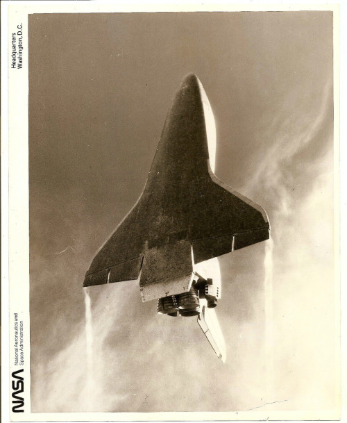 "lightthiscandle:  11/14/81: ""This spectacular shot of the underside of the Space Shuttle Columbia was taken from the primary photo chase plane by astronaut Kathryn Sullivan, Ph.D. Astronaut Robert Gibson, lieutenant commander in the U.S. Navy, piloted the T-38…Note the trailing wingtip cortex off each wingtip."""