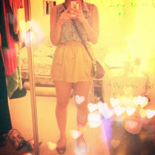 #skirt #yellow #denim #girl #legs #cute #outfit #american #apparel #hearts