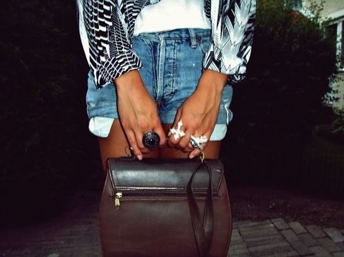 Fashion,Girl,Purse,Rings,Shorts,