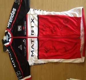 On The Drops - Matrix-Prendas Jersey auction | eBay Check this out - a Matrix-Prendas jersey and cap, signed by the entire team, including Olympic team pursuit gold medallists Joanna Rowsell and Dani King.  It's in aid of Out of the Saddle, a fundraising drive set up by British cyclists Dean and Russell Downing - click through here and find out more about where the money's going and how you can help, and bid using the link above!