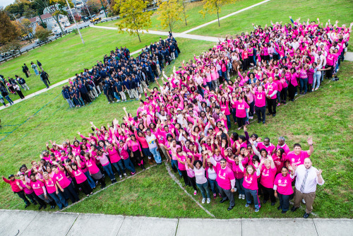 "NEWS 8 Report It Photo of the Day: ""Hillhouse HS students and staff wore pink to increase community awareness of the disease and to raise funds for research."" Photo sent in via Report It by Kermit Carolina."