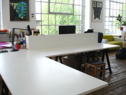 We a have a generous desk space available here at OPEN full time from OCTOBER 1st 2012. Rent is £230 a month. Members enjoy access to a small photo studio and risograph printer.  Contact us if you're keen! info@o-p-e-n.org.uk