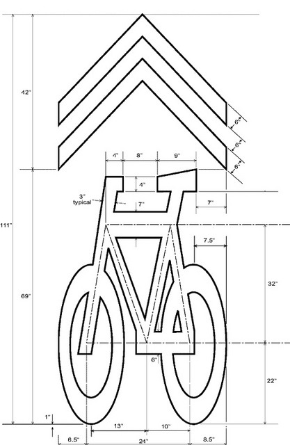 "dcycledesign:  thegreenurbanist:  Sharrow   Sadly, i hate sharrows. It's a city's cheap way of taking a narrow unsuitable, unsafe street and saying ""see? we have bike lanes"". Um, no. No, you don't."