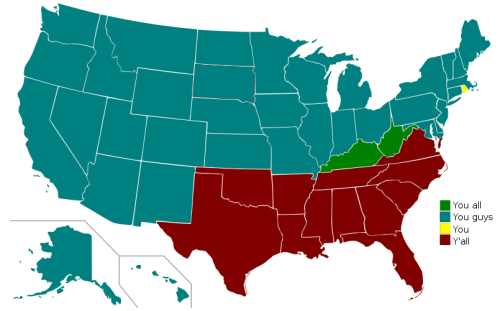 A map of the United States indicating regional variation in the word(s) one uses to address a group of two or more people