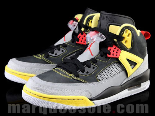"Jordan Spiz'ike ""Reflective"" – First Look The next Jordan Spiz'ike to follow the ""Gym Red"" colorway will feature a popular material used in most basketball and running shoes. This upcoming Jordan Spiz'ike model will now be equipped with the ever-so-popular 3M reflective materials. The color combination of grey, black, and yellow throughout the upper. Complementing the interesting colorway is the 3M wrapped mudguard that provides an extra pop."