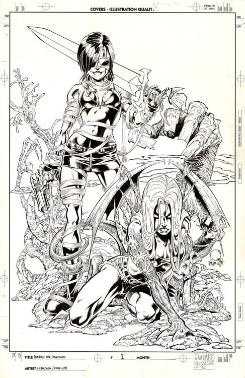 Painkiller Jane/Darkchylde #1 cover by Joe Quesada & Jimmy Palmiotti