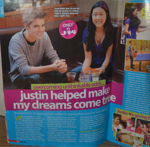 """Justin helped me make my dreams come true!"" - from J-14 Magazine."