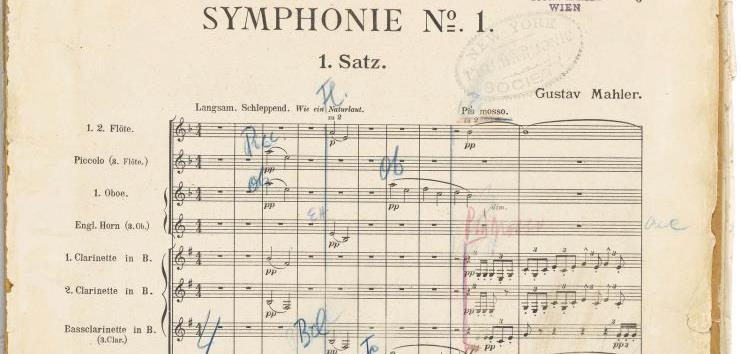 Commenting on Mahler As the Philharmonic performs Gustav Mahler's Symphony No. 1 in a matinee this afternoon (and again tomorrow evening), here's a peek at the composer's own score, which he used for the U.S. premiere in 1909, during his brief tenure as Philharmonic Music Director. (View the full score here.) It has some additional markings from another Philharmonic Music Director. Can you guess who?