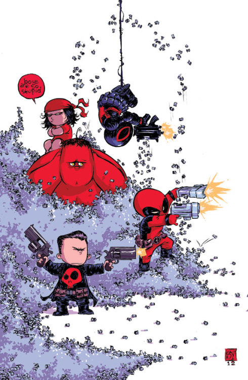 New Variant Cover by Skottie Young  I presume this is for the first issue of the Thunderbolts relaunch? Not wholly sold on the concept, but this is another cute variant from Young.