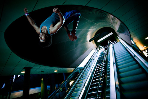 Central Station Parkour on Flickr.A few weeks ago I did a photoshoot in the gym with some of the guys from Team Elev8 with the intention of compositing onto urban backgrounds. (It's cheating but it's much safer!!) I haven't got round to going out and shooting my own backdrops but I couldn't resist getting a composite made quicker so I licensed this background from Stig Nygaard under Creative Commons! I'll hopefully get out around the UK to shoot some more myself over the next few weeks!