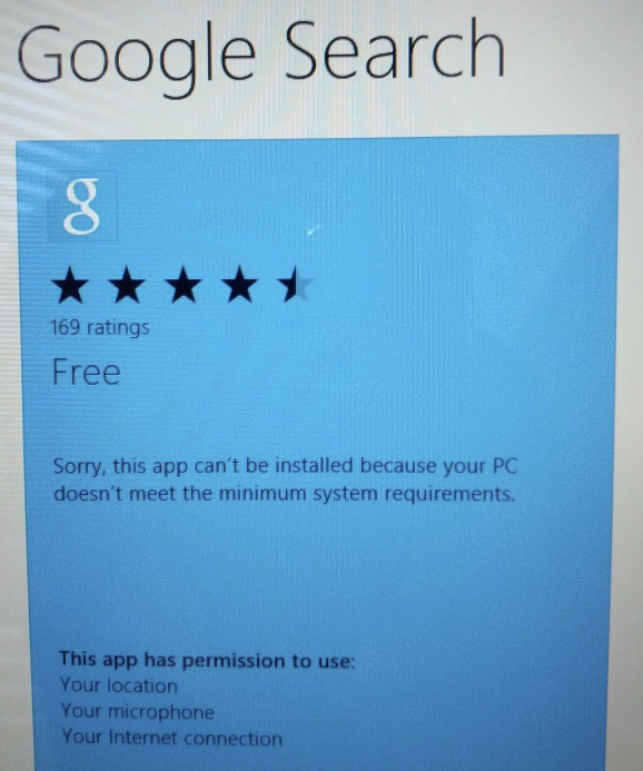 Sorry, Microsoft Surface Users: No Google Search App For You