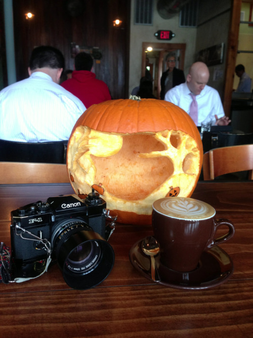 Coffee, camera, and pumpkin!