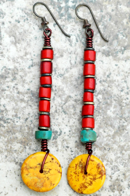 Kathmandu Earrings: Tibetan-Inspired Turquoise, Red and Yellow Disc Dangle Earrings