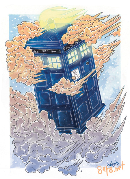 A Tardis I drew with the markers. I'm at Hal-Con this weekend! Update: I added a little change to the clouds. Real time.