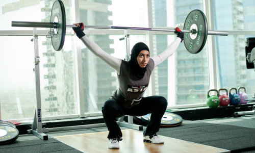"girljanitor:  ""I can lift a boy up."" -Amna Al Haddad, weightlifter  ""But I'm still a subservient female whose male-centric culture won't let walk around with their head uncovered, and I'm so cowed that I don't know enough to mind."""