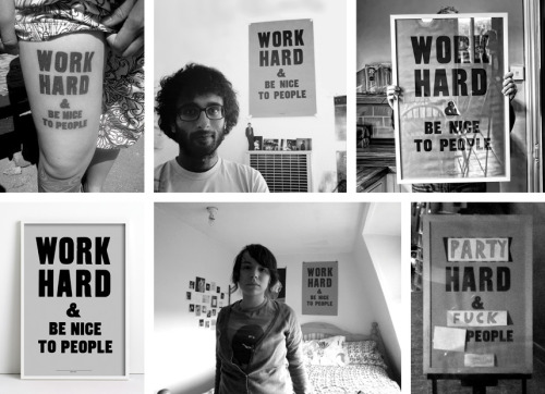 "tashatime:  michaelsiuprocon3:  gdsu:  Sat 19th- 12am Anthony Burrill I first came across his work after the ""oil and water do not mix"" was heavily blogged about a few years ago. I thought it was very innovative to use oil from the 2010 Gulf of Mexico disaster in his screen prints in order to make money for charity. Although he is probably most famous for his ""Work Hard and Be Nice to People"" poster. He started off with the story of discovering letterpress in his hometown of Rye. He collaborates with all kinds of people to bring his work to different platforms. Anthony also likes to google himself to see where his posters end up, and the results are quite comical. I'm rubbish at writing from my notes so you can watch the recorded stream here . One of my favourite talks of the Typo weekend website  Useful research towards my project. Thanks George!  The wonderful and lovely AB - another excellent speaker at Typo London!"