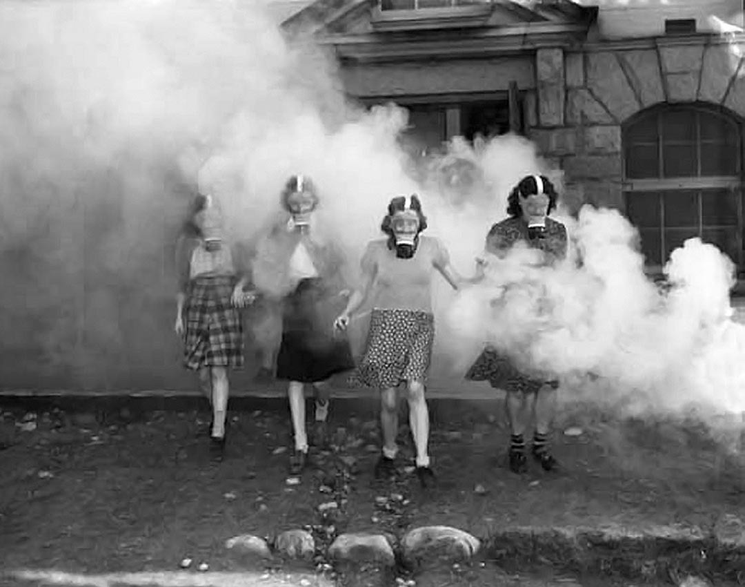Women in gas masks, 1940s Source: Photo by Dominion Photo Co., Vancouver Public Library, Special Collections #30424