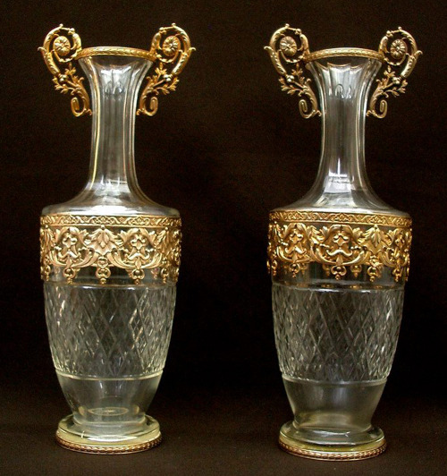 "Listing this week: Fabulous pair of 11.5"" tall 19th c. French unsigned Baccarat claret jugs or vase pair - excellent condition, both! Antiques & Uncommon Treasure"