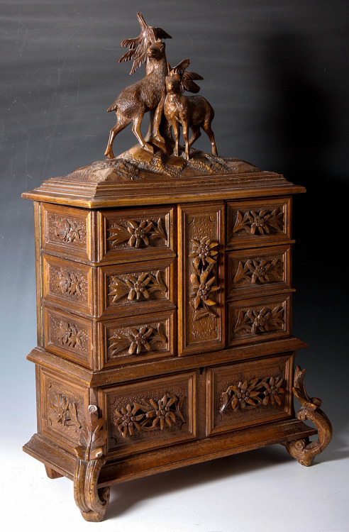 "17 1/2"" tall Antique Black Forest 4-tier jewelry chest, c. 1870-1900 at Antiques & Uncommon Treasure"