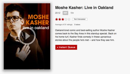 "Now on Netflix: Moshe Kasher ""Live in Oakland"". A one hour comedy special recorded at the New Parish. (via LaughSpin)"