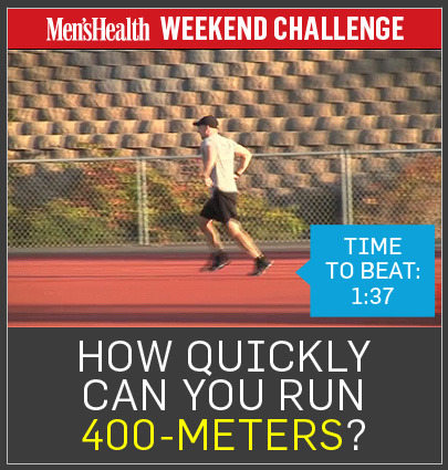 Weekend Challenge: How fast can YOU run 400 meters? http://ow.ly/eN6zr The time to beat: 1:37.5