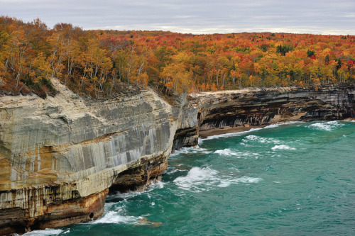"aestheticmichigan:  ""Autumn Blaze"" Pictured Rocks National Lakeshore by Michigan Nut on Flickr."