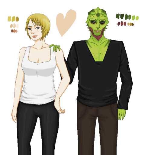 Um, I felt like drawing some Thane/Shepard in Ms Paint. So, here you go.