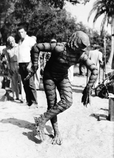 Ben Chapman on the set of Creature from the Black Lagoon (1954)