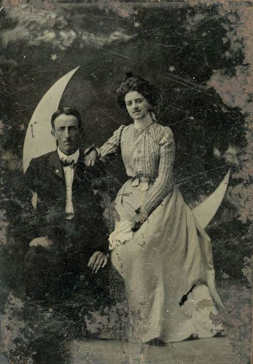ca. 1865-1910, [tintype portrait of a couple seated in front of a paper moon] via Harvard University Art Museums, Fogg Museum